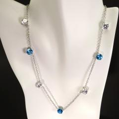 Gemjunky Elegant necklace of Blue Topaz and White Cambodian Zircon gemstones - 1647367