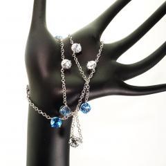 Gemjunky Elegant necklace of Blue Topaz and White Cambodian Zircon gemstones - 1647369