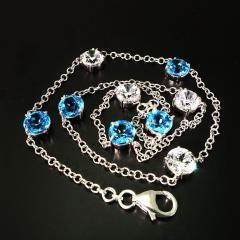 Gemjunky Elegant necklace of Blue Topaz and White Cambodian Zircon gemstones - 1647371