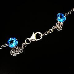 Gemjunky Elegant necklace of Blue Topaz and White Cambodian Zircon gemstones - 1647373