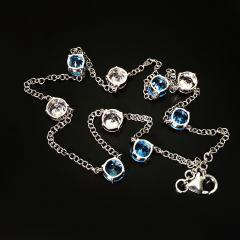 Gemjunky Elegant necklace of Blue Topaz and White Cambodian Zircon gemstones - 1647377
