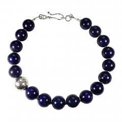 Gemjunky Elegantly Stunning Lapis Lazuli Collar with Pure Silver Focal - 1693011