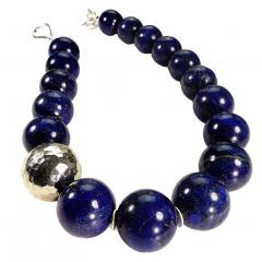 Gemjunky Elegantly Stunning Lapis Lazuli Collar with Pure Silver Focal - 1781541
