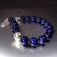 Gemjunky Elegantly Stunning Lapis Lazuli Collar with Pure Silver Focal - 1781542