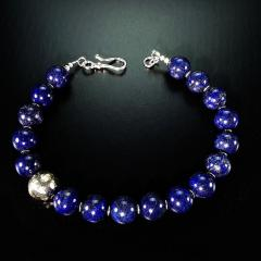 Gemjunky Elegantly Stunning Lapis Lazuli Collar with Pure Silver Focal - 1781544