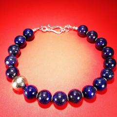 Gemjunky Elegantly Stunning Lapis Lazuli Collar with Pure Silver Focal - 1781545