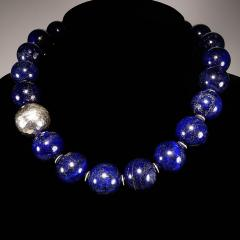 Gemjunky Elegantly Stunning Lapis Lazuli Collar with Pure Silver Focal - 1781546