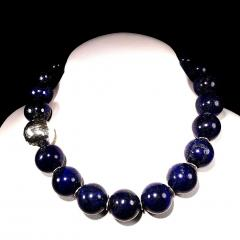 Gemjunky Elegantly Stunning Lapis Lazuli Collar with Pure Silver Focal - 1781547