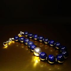 Gemjunky Elegantly Stunning Lapis Lazuli Collar with Pure Silver Focal - 1781548