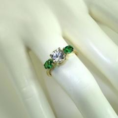 Gemjunky Glamorous White Sapphire and Tsavorite Cocktail Ring - 1824776