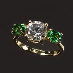 Gemjunky Glamorous White Sapphire and Tsavorite Cocktail Ring - 1824782
