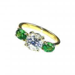 Gemjunky Glamorous White Sapphire and Tsavorite Cocktail Ring - 1825670