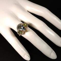 Gemjunky Glittering Dinner Ring of Aquamarine Peridot and Cambodian Zircon - 1659274