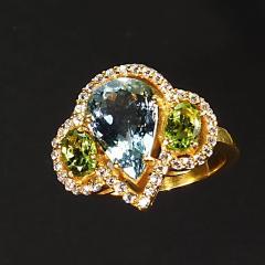 Gemjunky Glittering Dinner Ring of Aquamarine Peridot and Cambodian Zircon - 1659277