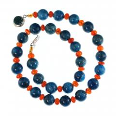 Gemjunky Glowing Apatite and Carnelian Necklace - 1703178
