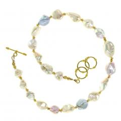 Gemjunky Gorgeous Glowing Iridescent Freshwater Pearl Choker Necklace - 1781560