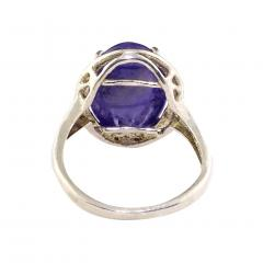 Gemjunky Gorgeous Oval Tanzanite Cabochon in Sterling Silver Ring - 1908954