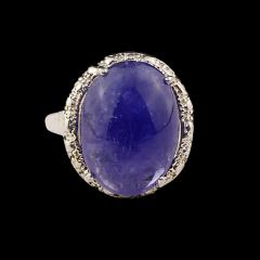 Gemjunky Gorgeous Oval Tanzanite Cabochon in Sterling Silver Ring - 1908955