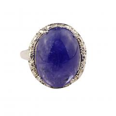 Gemjunky Gorgeous Oval Tanzanite Cabochon in Sterling Silver Ring - 1908956