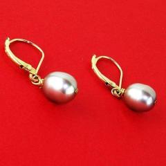 Gemjunky Gray Pearl in Yellow Gold Lever Back Earrings - 1991182