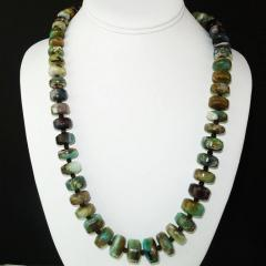 Gemjunky Green and Brown Graduated Peruvian Opal Necklace with Sterling Silver - 1647209