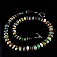 Gemjunky Green and Brown Graduated Peruvian Opal Necklace with Sterling Silver - 1647210