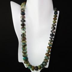 Gemjunky Green and Brown Graduated Peruvian Opal Necklace with Sterling Silver - 1647212