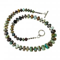 Gemjunky Green and Brown Graduated Peruvian Opal Necklace with Sterling Silver - 1648085