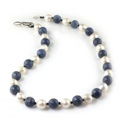 Gemjunky Highly Polished Blue Coral and White Wrinkle Pearl Necklace - 1926868