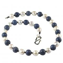 Gemjunky Highly Polished Blue Coral and White Wrinkle Pearl Necklace - 1926869
