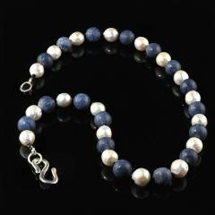 Gemjunky Highly Polished Blue Coral and White Wrinkle Pearl Necklace - 1926870