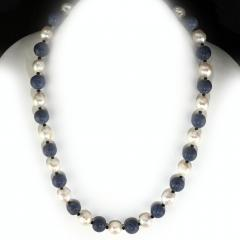 Gemjunky Highly Polished Blue Coral and White Wrinkle Pearl Necklace - 1926871