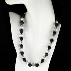 Gemjunky Highly Polished Blue Coral and White Wrinkle Pearl Necklace - 1926876