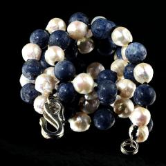 Gemjunky Highly Polished Blue Coral and White Wrinkle Pearl Necklace - 1926878