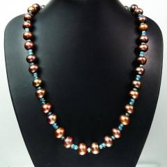 Gemjunky Iridescent Brown Pearls accented with Sparkling Apatite Necklace - 1890928