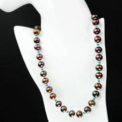 Gemjunky Iridescent Brown Pearls accented with Sparkling Apatite Necklace - 1890929