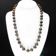 Gemjunky Iridescent Brown Pearls accented with Sparkling Apatite Necklace - 1890930