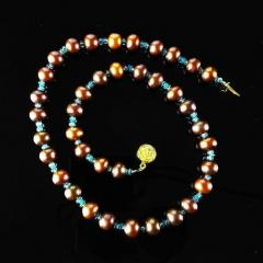Gemjunky Iridescent Brown Pearls accented with Sparkling Apatite Necklace - 1890931