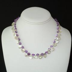 Gemjunky Iridescent White Keshi Pearl and Amethyst Briolette Necklace - 1647213