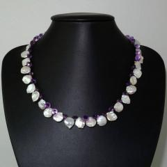 Gemjunky Iridescent White Keshi Pearl and Amethyst Briolette Necklace - 1647215