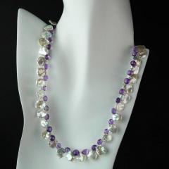 Gemjunky Iridescent White Keshi Pearl and Amethyst Briolette Necklace - 1647216