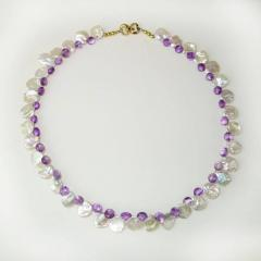 Gemjunky Iridescent White Keshi Pearl and Amethyst Briolette Necklace - 1647217