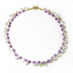 Gemjunky Iridescent White Keshi Pearl and Amethyst Briolette Necklace - 1648086