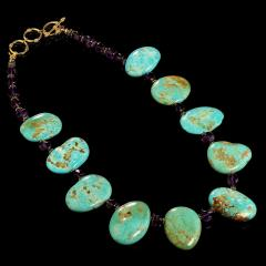 Gemjunky Kingman Turquoise Tablet and Amethyst necklace - 1908946