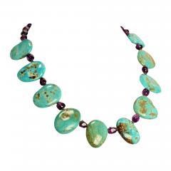 Gemjunky Kingman Turquoise Tablet and Amethyst necklace - 1909618