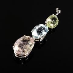 Gemjunky Magnificent Three Beryl Pendant in Sterling Silver - 1647365