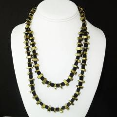 Gemjunky Modernist Black Onyx and Golden Pyrite Necklace - 1792349
