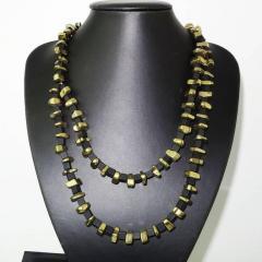 Gemjunky Modernist Black Onyx and Golden Pyrite Necklace - 1792350