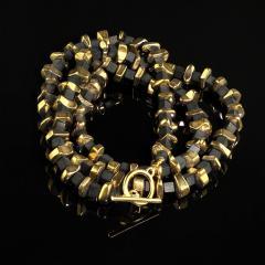 Gemjunky Modernist Black Onyx and Golden Pyrite Necklace - 1792351
