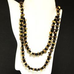 Gemjunky Modernist Black Onyx and Golden Pyrite Necklace - 1792352